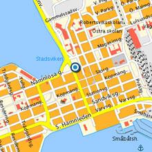 Karta över Luleå. Kulturens hus är markerad med en prick.