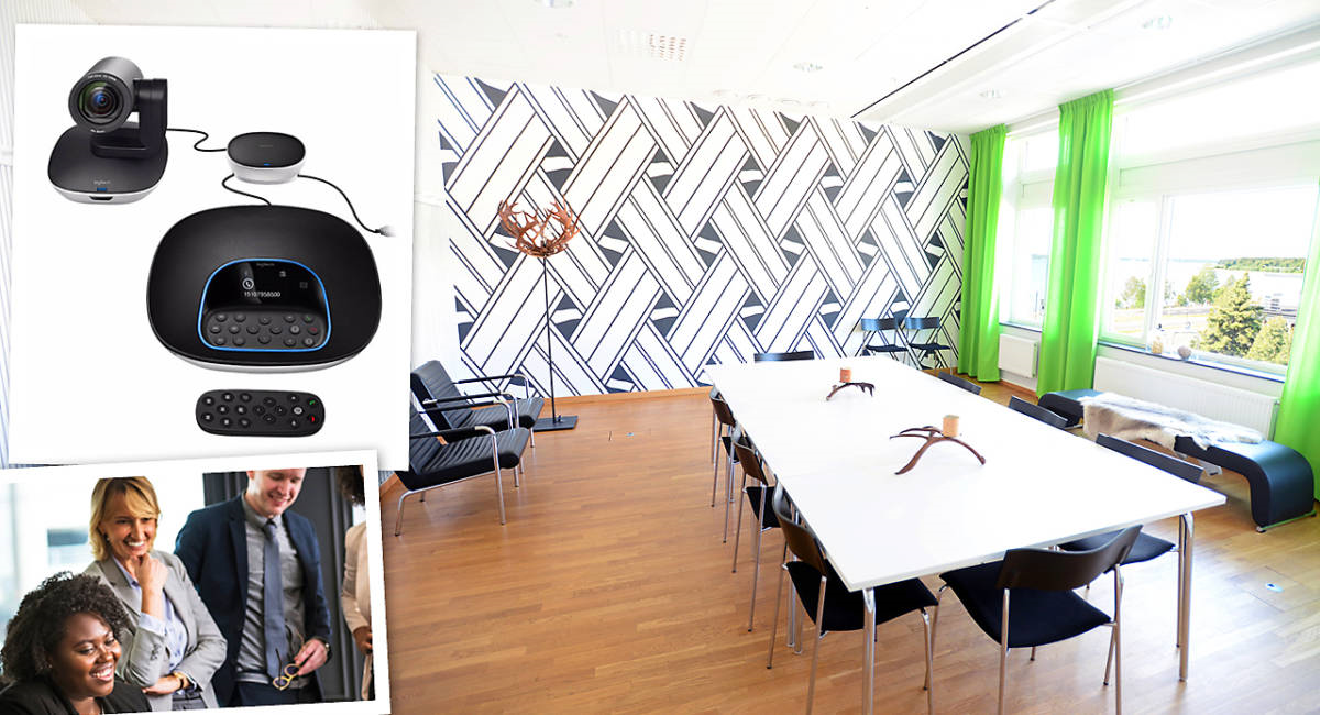 Bild på ett konferensrum i Kulturens hus Luleå. Infällt i bilden syns människor på konferens samt videoutrustning för onlinemöten.